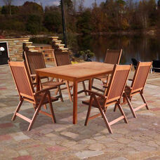 Malibu Outdoor 7 Piece Wood Patio Dining  Set with Rectangular Table and 6 Reclining Armchairs