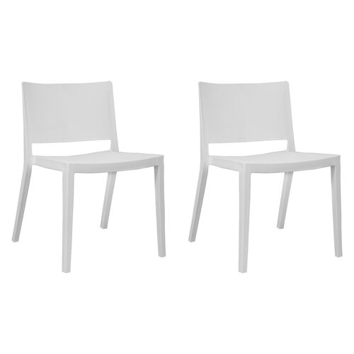 Elio Stackable Sturdy White Plastic Chair - Set of 2