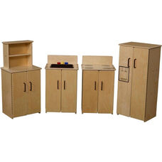 Contender Set of Four Wooden Kitchen Appliances with Brown Accents - Unassembled - 64