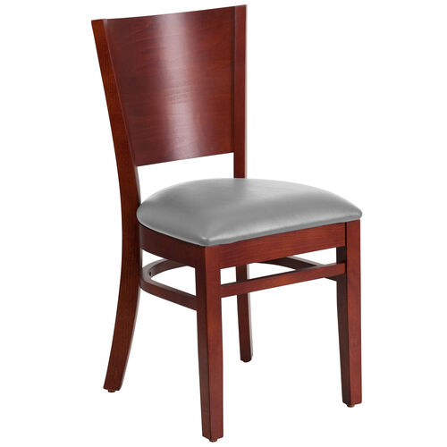 Our Mahogany Finished Solid Back Wooden Restaurant Chair with Custom Upholstered Seat is on sale now.
