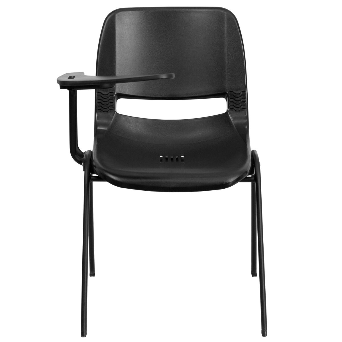 Black Ergonomic Shell Chair with Right Handed Flip-Up ...