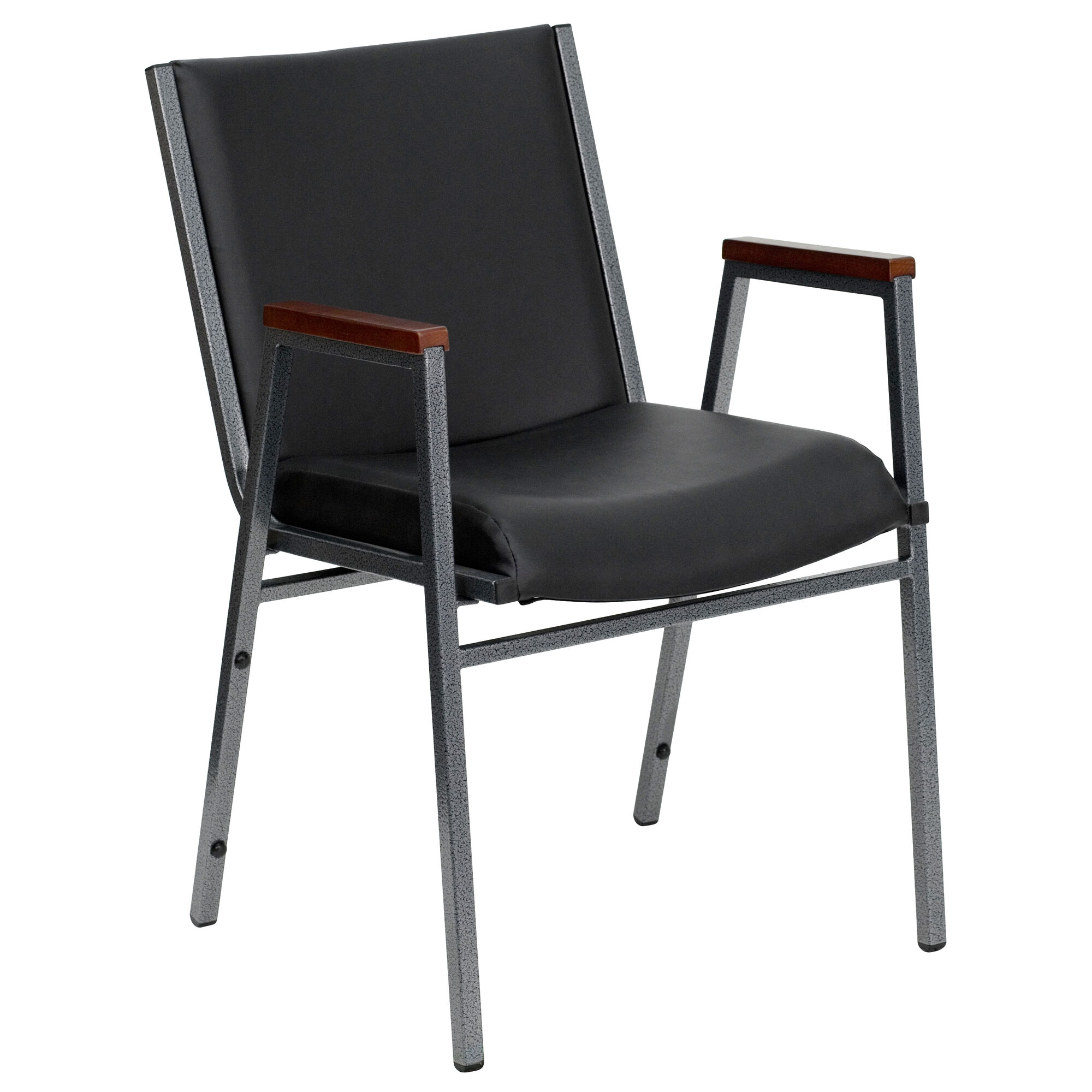 Astonishing Hercules Series Heavy Duty Black Vinyl Stack Chair With Arms Dailytribune Chair Design For Home Dailytribuneorg