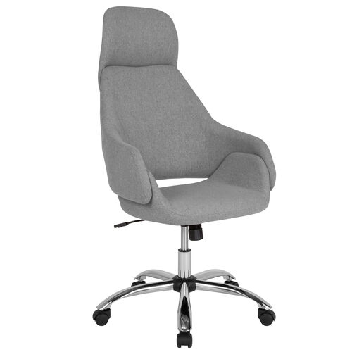 Our Marbella Home and Office Upholstered High Back Chair in Light Gray Fabric is on sale now.