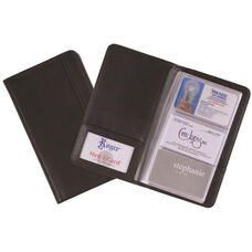 3-Up Business Card File with 72 Card Capacity - Top Grain Nappa Leather - Black