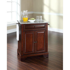 Solid Granite Top Portable Kitchen Island with Lafayette Feet - Vintage Mahogany Finish