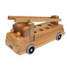 Solid Wood Transport Vehicle - Fire Truck with Moveable Ladder and Two Firemen