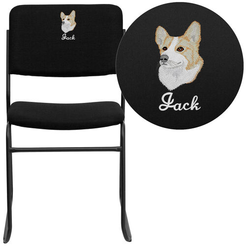 Our Embroidered HERCULES Series 500 lb. Capacity High Density Black Fabric Stacking Chair with Sled Base is on sale now.