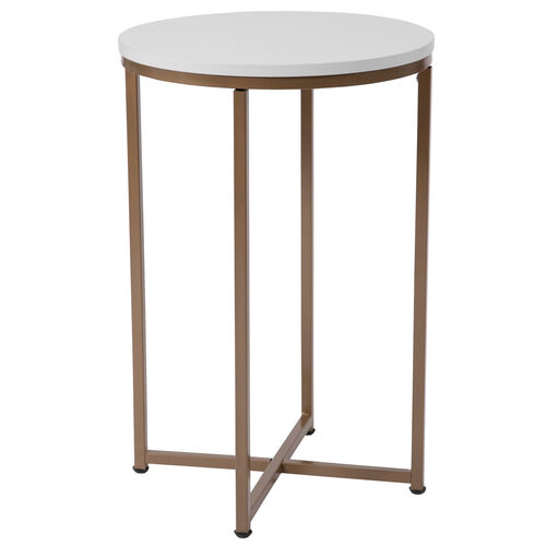 Our Hampstead Collection White End Table with Matte Gold Frame is on sale now.
