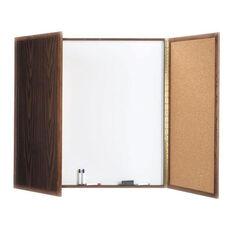 Enclosed Oak Melamine Planning Markerboard with Pebble Grain Tackboard - 48