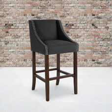 """Carmel Series 30"""" High Transitional Walnut Barstool with Accent Nail Trim in Charcoal Fabric"""