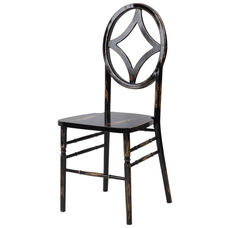 Veronique Series Stackable Diamond Wood Dining Chair - Lime Black Wash