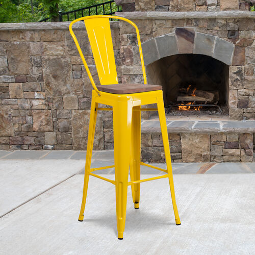 """Our 30"""" High Yellow Metal Barstool with Back and Wood Seat is on sale now."""