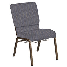 18.5''W Church Chair in Mystery Hazelwood Fabric with Book Rack - Gold Vein Frame