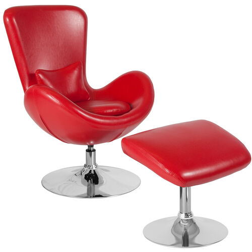 Egg Series Red LeatherSoft Side Reception Chair with Ottoman