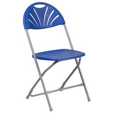 HERCULES Series 650 lb. Capacity Blue Plastic Fan Back Folding Chair