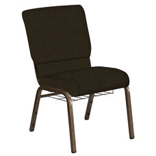 Embroidered 18.5''W Church Chair in Cobblestone Chocolate Fabric with Book Rack - Gold Vein Frame