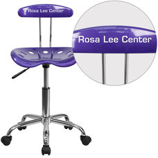 Personalized Vibrant Violet and Chrome Swivel Task Chair with Tractor Seat
