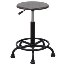 Retro Height Adjustable Steel Stool with Footring and 5 Star Base - Black and Gunnison Gray