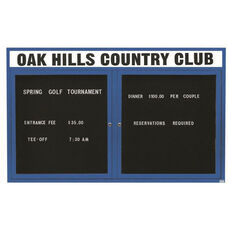 2 Door Outdoor Illuminated Enclosed Directory Board with Header and Blue Anodized Aluminum Frame - 48