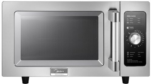 Midea Stainless Steel 1000 Watt Commercial Grade Microwave with Dial Timer