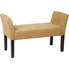 Ave Six Kelsey Upholstered Fabric Bench with Tapered Wood Legs - Shultz Nugget