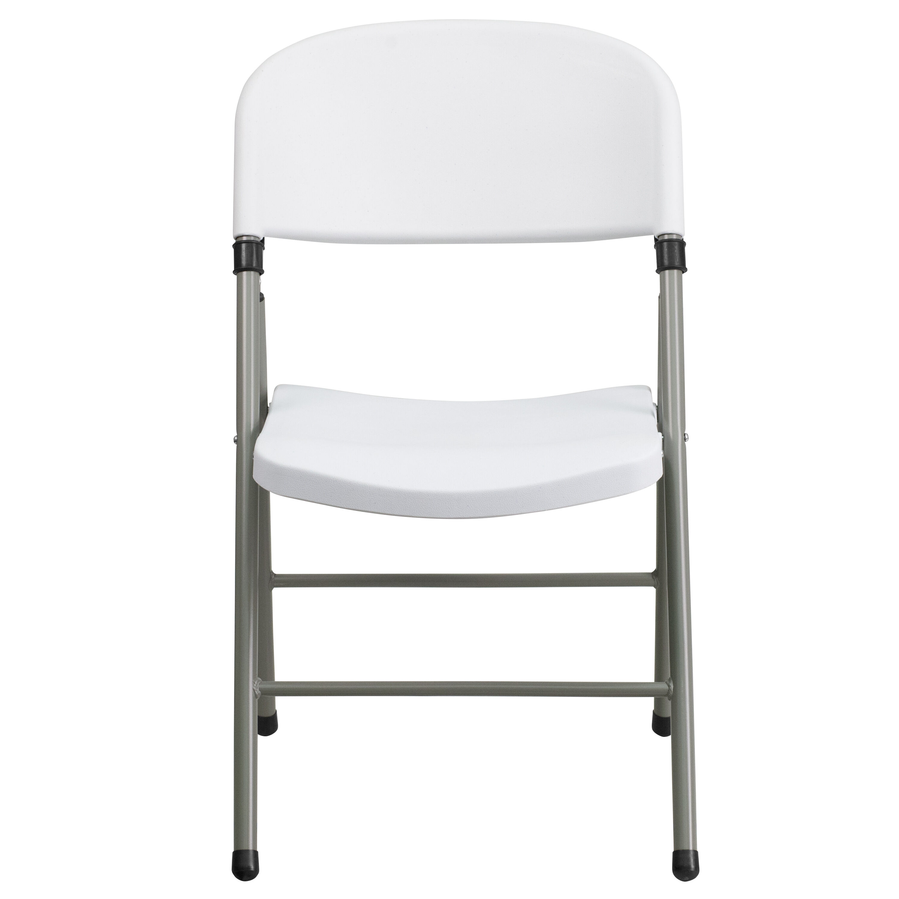 Capacity White Plastic Folding Chair With Gray Frame Is On