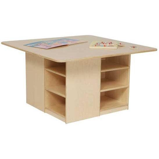 Healthy Kids Plywood Cubbie Table With Storage Underneath   Assembled   36