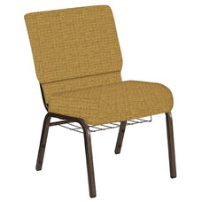 Embroidered 21''W Church Chair in Interweave Khaki Fabric with Book Rack - Gold Vein Frame