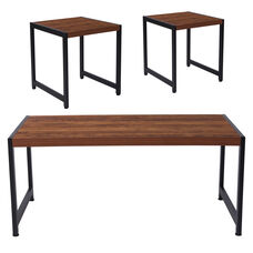 Grove Hill Collection 3 Piece Coffee and End Table Set in Rustic Wood Grain Finish and Black Metal Frames