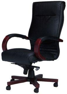 Corsica Black Leather Task Chair - Sierra Cherry on Cherry Veneer