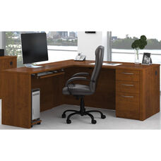 Embassy L-Shaped Assembly with Keyboard Shelf and Filing Drawer - Tuscany Brown
