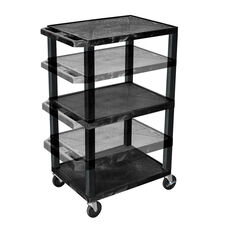 Black Adjustable Height Utility Cart
