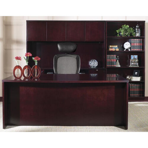 Our OSP Furniture Kenwood Hardwood Veneer Simple Executive Suite with Bookcase with Curved Metal Drawer Pulls is on sale now.