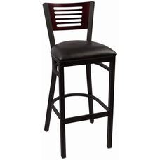Jones River Series Wood Back Armless Barstool with Steel Frame and Vinyl Seat - Mahogany