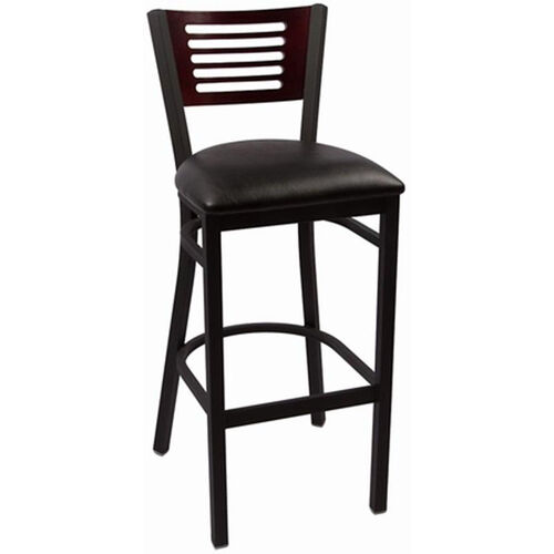 Our Jones River Series Wood Back Armless Barstool with Steel Frame and Vinyl Seat - Mahogany is on sale now.