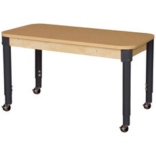 Mobile Rectangular High Pressure Laminate Table with Adjustable Steel Legs - 48