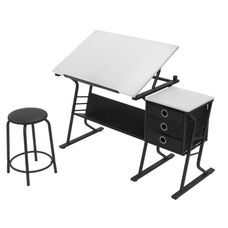 Eclipse Contemporary Craft and Storage Center with Stool - Black and White