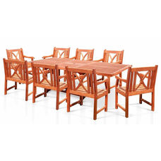 Malibu Outdoor 9 Piece Wood Patio Dining  Set with Rectangular Extension Table and 8 Curved X Back Armchairs