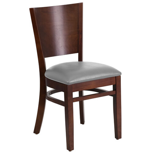 Our Walnut Finished Solid Back Wooden Restaurant Chair with Custom Upholstered Seat is on sale now.