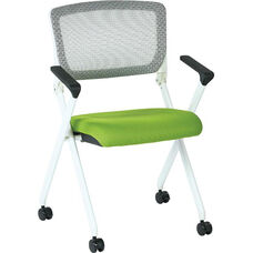 Space Pulsar Folding Chair with Breathable Mesh Back and Mesh Seat - Set of 2 - Green