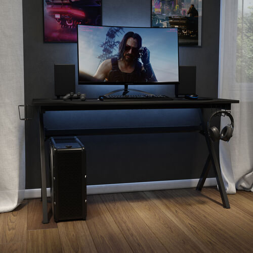 """55"""" x 24"""" Extra Large Gaming Desk with Headphone Hook and Cup Holder - Free Mouse Pad"""