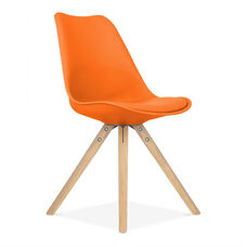 Viborg Mid Century Orange Side Chair with Natural Wood Base - Set of 2