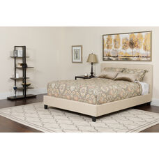 Tribeca Full Size Tufted Upholstered Platform Bed in Beige Fabric with Memory Foam Mattress