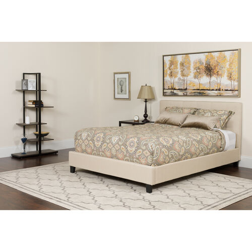 Our Tribeca Full Size Tufted Upholstered Platform Bed in Beige Fabric with Memory Foam Mattress is on sale now.