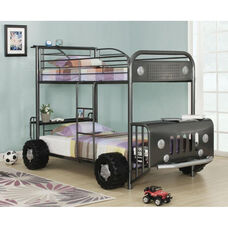 Harry Complete Twin Bunk Beds with Storage Shelves - Safari Bus - Gunmetal