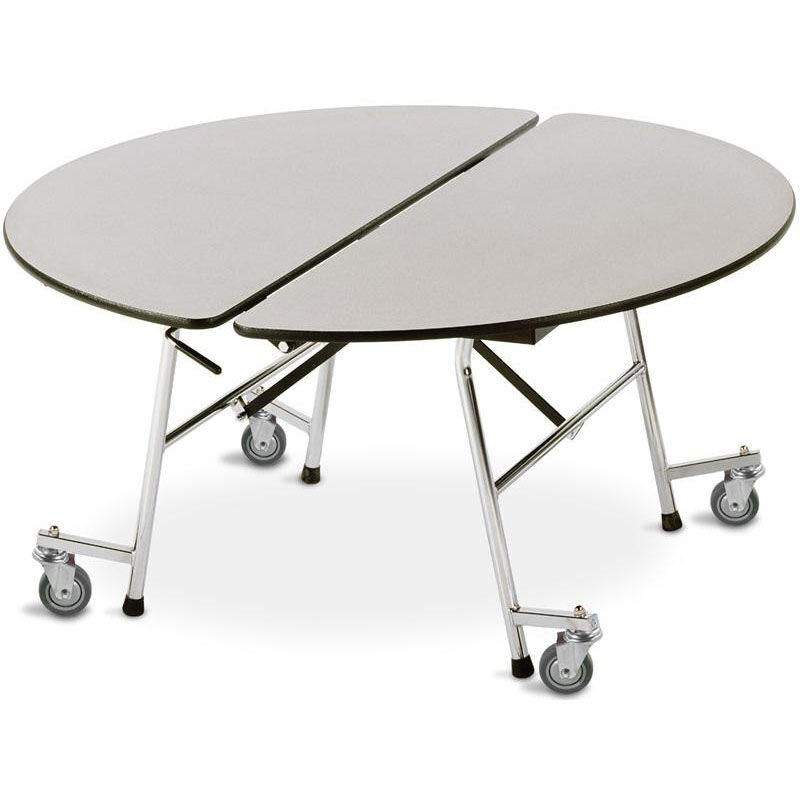 Fold N Roll Round Laminate Cafeteria Table With Casters   60
