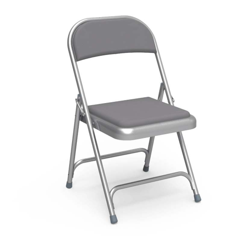 ... Our Quick Ship Multi Purpose Steel Folding Chair With Silver Mist Vinyl  Pads And Frame