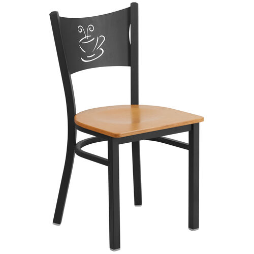 Our Black Coffee Back Metal Restaurant Chair with Natural Wood Seat is on sale now.