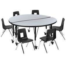 """Mobile 47.5"""" Circle Wave Collaborative Laminate Activity Table Set with 12"""" Student Stack Chairs, Grey/Black"""