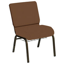 Embroidered HERCULES Series 21''W Church Chair in E-Z Oxen Brown Vinyl with Book Rack - Gold Vein Frame